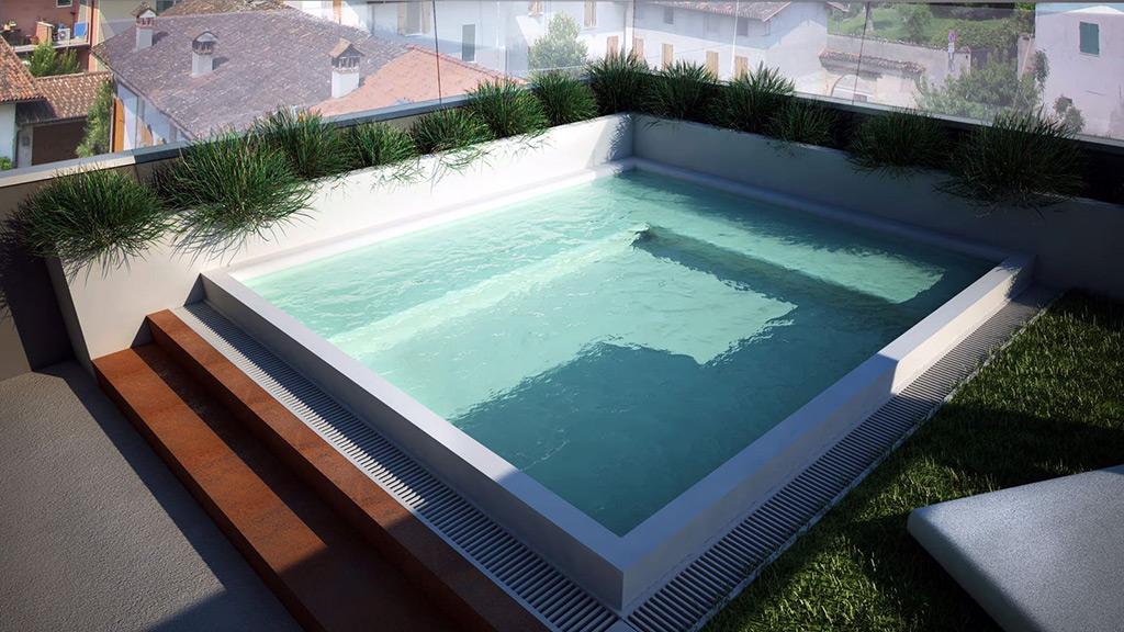 Piscina a sfioro su terrazzo progettazione e realizzazione acqua tecnica - Piscina a sale ...